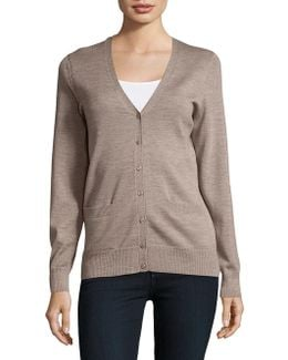 Merino Wool Button-front Cardigan