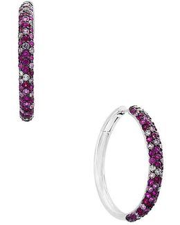 Final Call Ruby And Sapphire Studded Sterling Silver Hoop Earrings — 1.5""