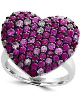 Ruby, Pink Sapphire & Sterling Silver Heart Ring