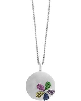 Final Call Diamond, Sapphire, Tsavorite And Sterling Silver Pendant Necklace