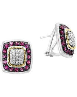 Final Call Diamond Pink Tourmaline 18k Yellow Gold Sterling Silver Earrings