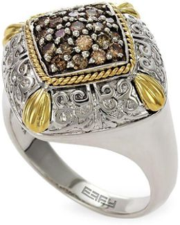 Final Call Diamond, 18k Yellow Gold And Sterling Silver Ring