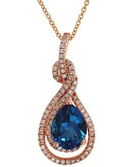 Final Call Diamond, London Blue And 14k Rose Gold Pendant Necklace