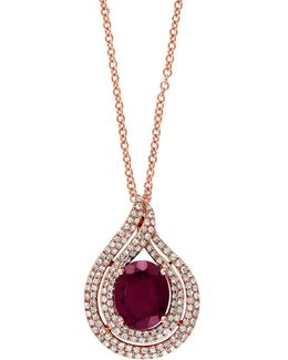 Final Call Rhodolite, Diamond And 14k Rose Gold Pear Pendant Necklace