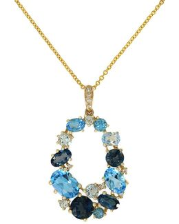 Diamond, 18k Yellow Gold And Blue Topaz Pendant Necklace