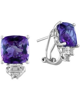 Final Call 14k White Gold With Amethyst And White Topaz Earrings