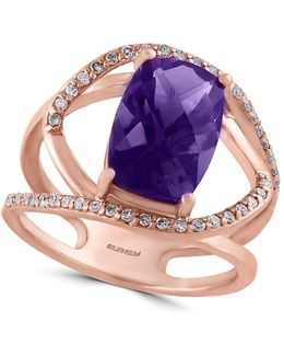 Final Call Amethyst, Diamond And 14k Rose Gold Asymmetric Cutout Ring