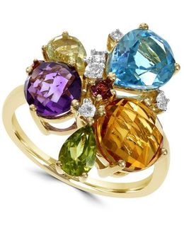 Final Call Amethyst, Blue Topaz, White Topaz, Citrine, Lemon Quartz And 14k Yellow Gold Ring