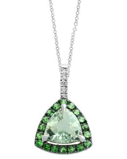 Final Call Tsavorite, Diamond And 14k White Gold Pendant Necklace