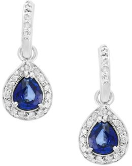 Final Call Natural Diffused Ceylon Sapphire, Diamond And 14k White Gold Drop Earrings