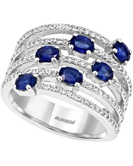 Final Call 0.41tcw Diamonds, Natural Sapphire And 14k White Gold Ring