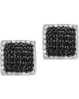 Final Call 0.71tcw Diamonds, Black Sapphire And 14k White Gold Stud Earrings
