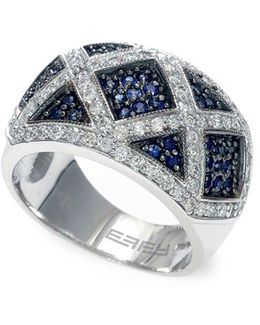 Final Call 0.76tcw Diamonds, Natural Sapphire And 14k White Gold Ring