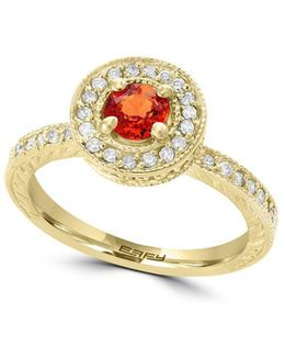 Final Call 0.39tcw Diamonds, Orange Sapphire And 14k Yellow Gold Ring