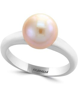 Final Call 9.5mm Round White Freshwater Pearl And 14k White Gold Ring