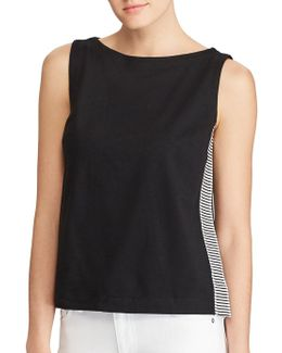 Contrast Panelled Cotton Top