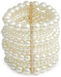 Faux Pearl Multi-row Stretch Bracelet