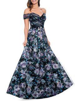 Floral Fit-&-flare Ball Gown