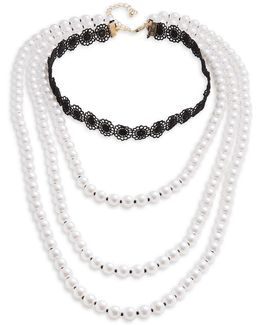 Faux Pearl Choker Layer Necklace