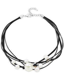 Multi Row Faux Pearl And Leather Necklace