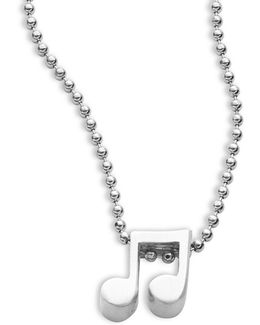 Little Rockstar Sterling Silver Double Note Necklace