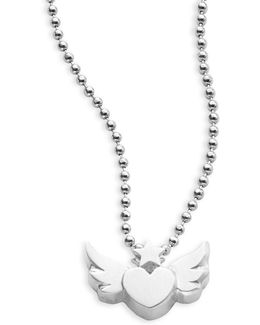 Sterling Silver Flying Heart Necklace