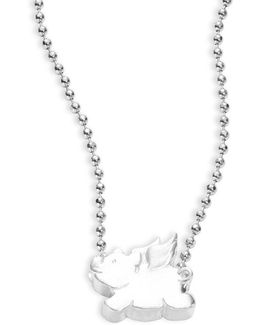 Little Signs Sterling Silver Flying Pig Necklace