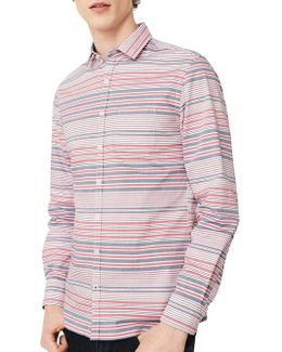 Striped Casual Button-down Cotton Shirt