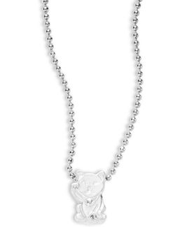 Sterling Silver Lucky Cat Icon Necklace