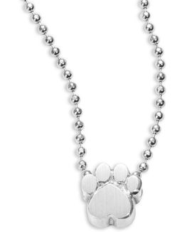 Sterling Silver Paw Icon Necklace
