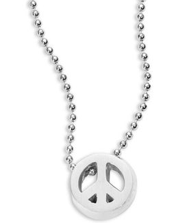 Sterling Silver Peace Sign Icon Necklace
