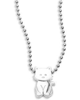 Sterling Silver Kitten Icon Necklace