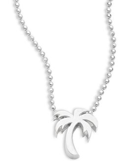 Sterling Silver Palm Tree Icon Necklace