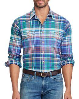 Classic-fit Plaid Cotton Oxford Workshirt