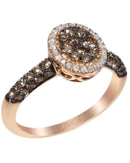 Espresso Diamond And 14k Rose Gold Ring, 0.85 Tcw