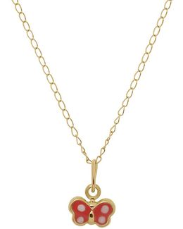 14k Yellow Gold Butterfly Pendant Necklace