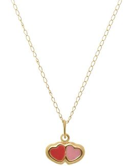 14k Yellow Gold Double Heart Necklace