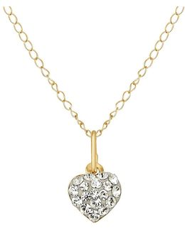 Crystal And 14k Yellow Heart Necklace