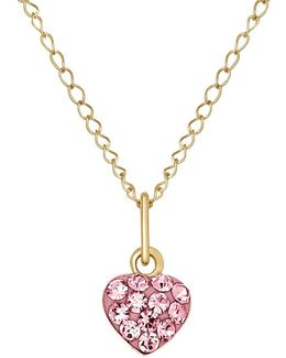Rose Crystal And 14k Yellow Heart Necklace