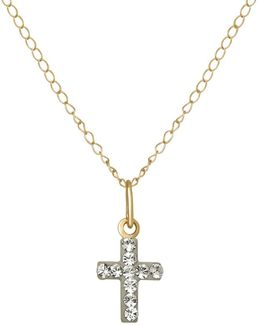 Crystal And 14k Yellow Gold Cross Pendant Necklace