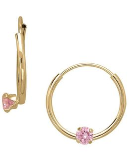 14k Yellow Gold And Pink Cubic Zirconia Hoop Earrings