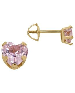 Pink Cubic Zirconia And 14k Yellow Gold Heart Stud Earrings