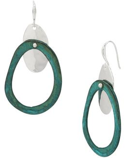 Oval Hammered Disc Drop Earrings