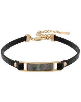 Leather Items Goldtone Mother-of-pearl And Faux Leather Choker Necklace
