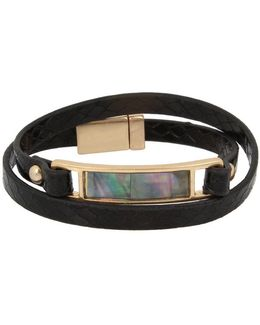 Leather Items Goldtone Leather Wrap Bracelet