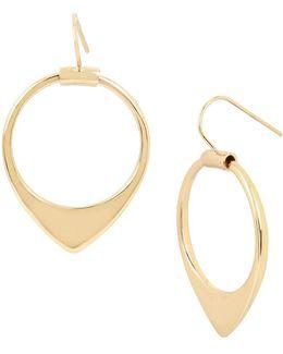 Gold Drop Hoop Earrings