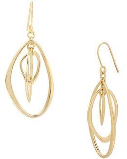 Abalone Goldtone Orbital Drop Earrings