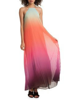 Pleated Ombre Halter Neck Dress