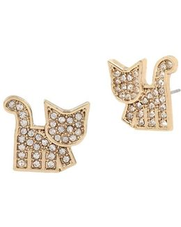 East Harlem Shuffle Crystal Cat Stud Earrings