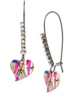 East Harlem Shuffle Crystal Heart Drop Earrings